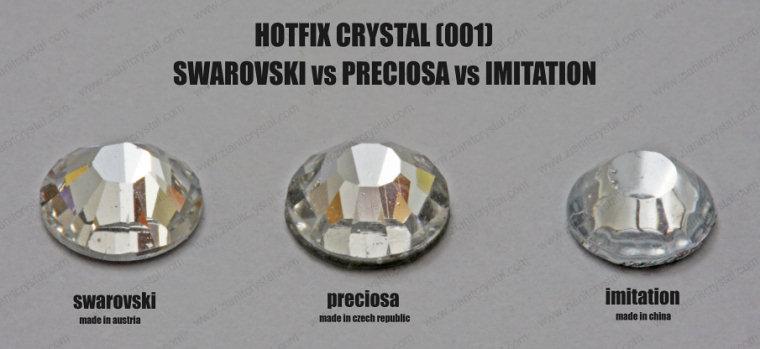 Perbandingan antara Batu Tampal Swarovski, Preciosa & Tiruan